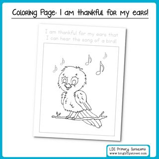 "LDS Sunbeam Lesson 18 ""I am thankful for my ears"" Freebie"