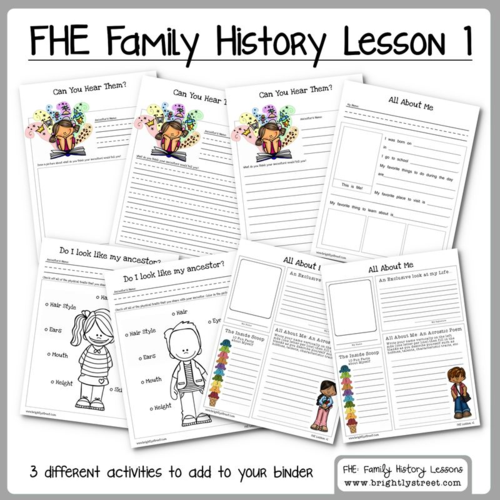 Brightly Street Family History FHE lesson 1 sample worksheet
