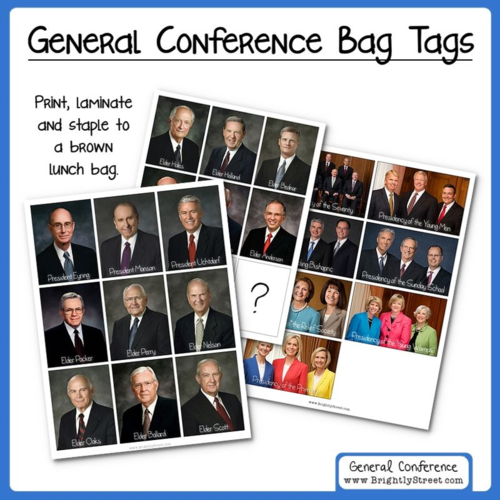 General Conference Bag Tags for Kids General Authorities and Leaders updated April 2016