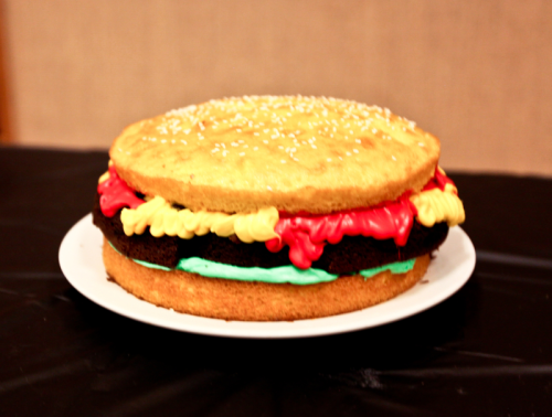 50s Retro Diner Party hamburger cake