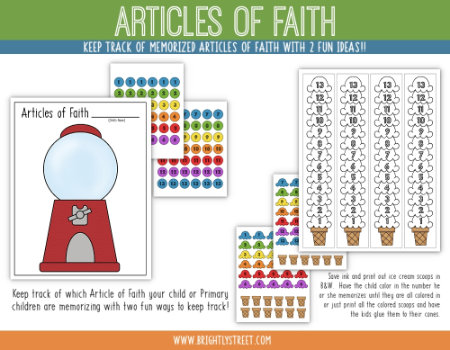 Etsy Articles of Faith Charts