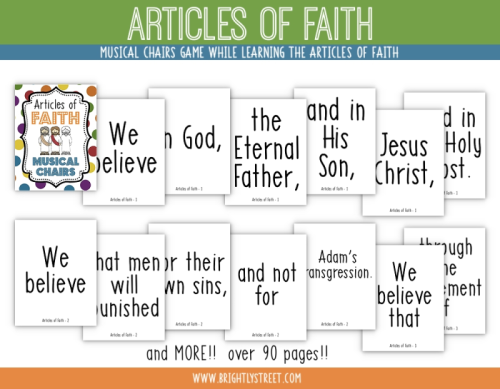 Articles of Faith Musical Chair Signs