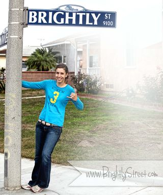 Brightly Street Melia with sign