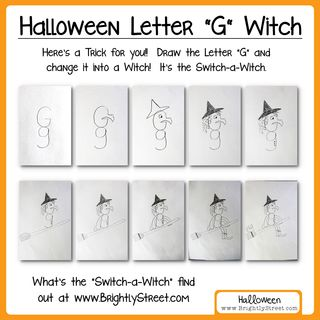 How to draw a witch with the letter G for Halloween
