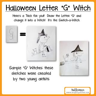 How to draw a witch with the letter G for Halloween samples