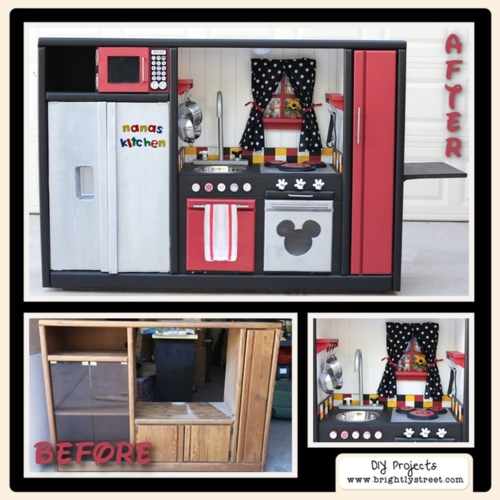 DIY Play Kitchen from entertainment center disney