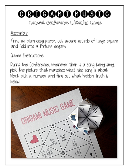 General Conference Packet for kids Origami Music