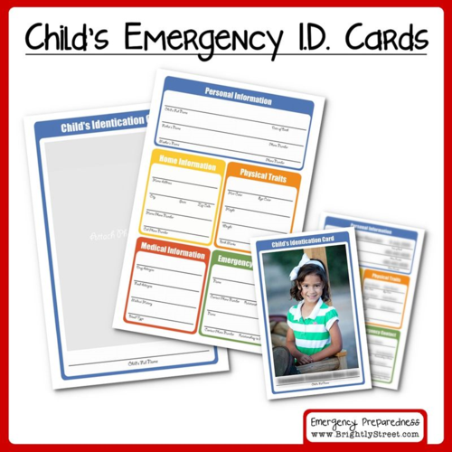 Emergency Preparedness – Children's Identification Cards