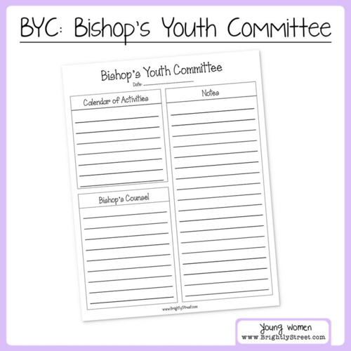 BYC: Bishop's Youth Committee Worksheet