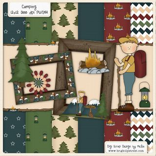 Brightly Street Camping Digital Scrapbook Kit preview