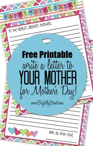 Brightly Street Mothers Day Free Printable Pinterest