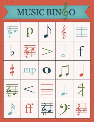 Brightly Street Music Bingo Card