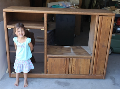 repurposed entertainment center turned play kitchen, diy, how to, paint, repurposed upcycling