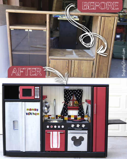 Upcycle entertainment to diy play kitchen
