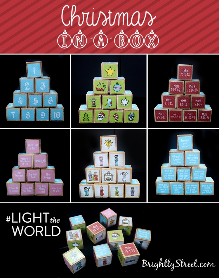 Brightly Street Christmas-in-a-Box Pinterest How-to Blocks #LIGHTtheWORLD