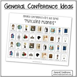 LDS General Conference ideas for kids Matching Game